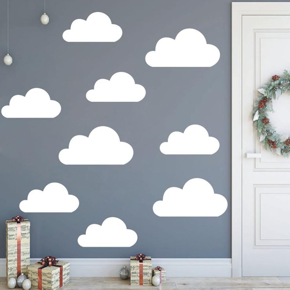 Conjunto de 9 pegatinas de vinilo de nubes de gran tamaño, pegatinas de vinilo para niños, bebé, removible de decoración de habitación, pegatina de nubes para pared, murales nublados, arte AZ773