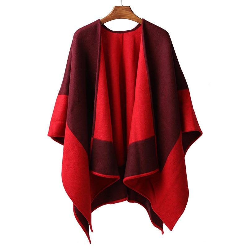 100% ميرينو الصوف الصوفى النساء سميكة كبيرة عباءة المعطف الباشمينا والأوشحة مزدوجة الوجه اللون خليط 135x150 سنتيمتر