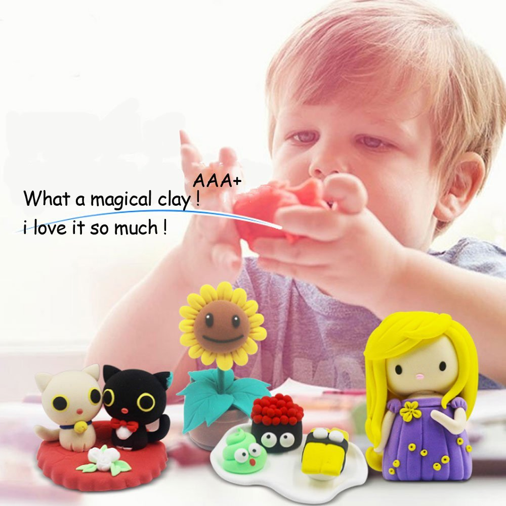 24 Colors Air Dry Modeling Clay Set Light Clay Set for Kids with Tools Non-sticky and Non-Toxic Scented
