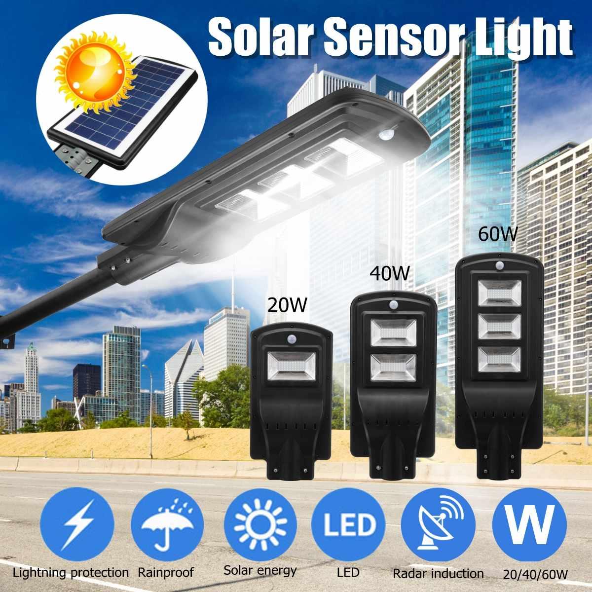 Luz LED Solar de pared de 20/40/60 W, luz de calle, Radar de inducción PIR, Sensor de movimiento, lámpara de exterior, iluminación para el patio residencial del hogar