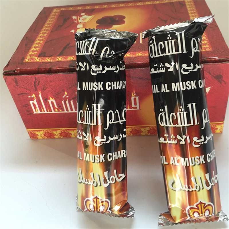 10 Pcs/Bag HAMIL AL MUSK CHARCOAL Tobacco Hookah Shisha Cigarette Tool 33mm Bar Flammable Charcoal