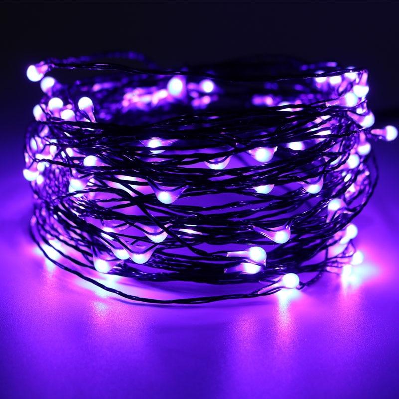 10M 100LED Halloween luces naranja púrpura para fiesta luces decorativas alambre de cobre negro hadas luces para habitación al aire libre decoración interior