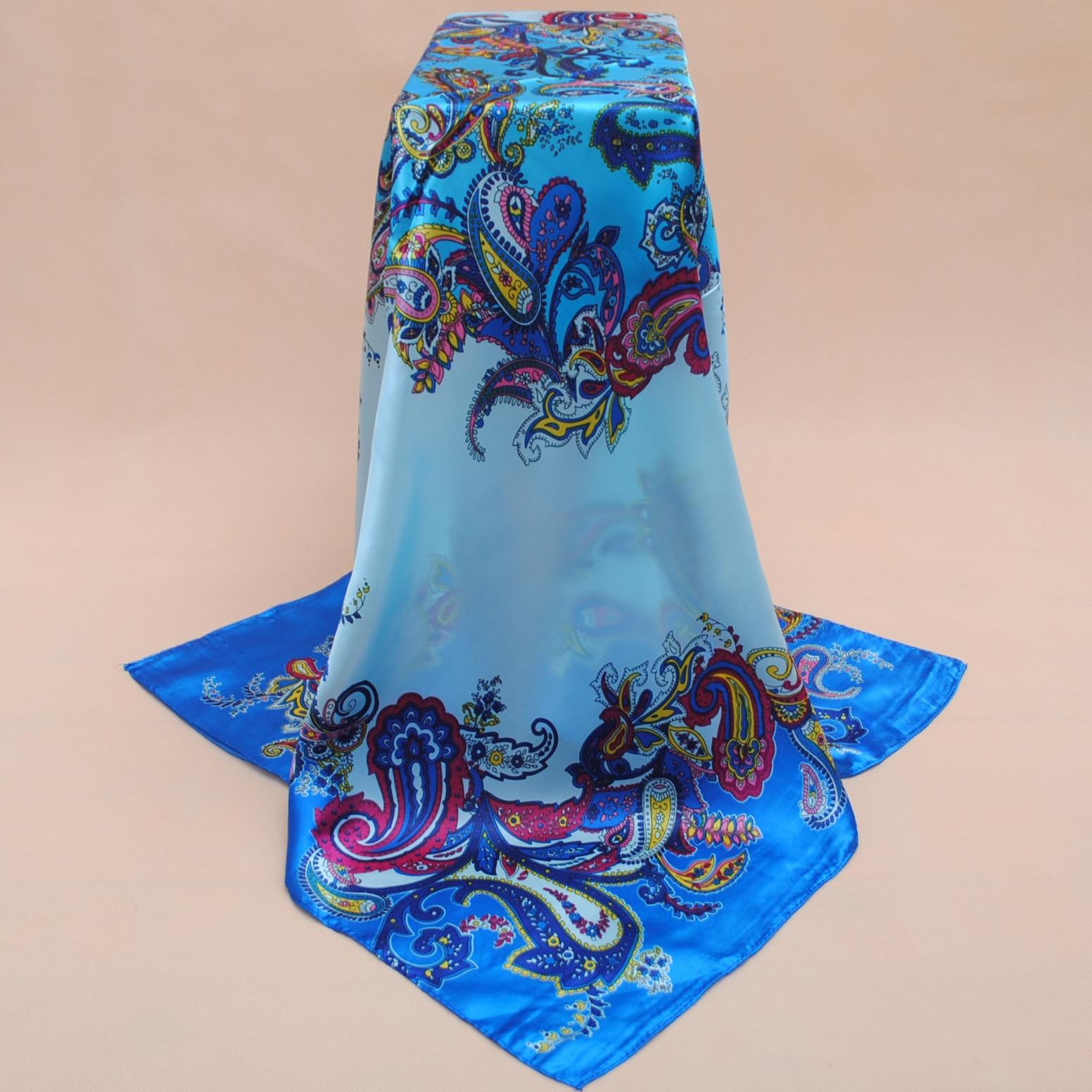 Lenco pañuelo de seda impreso rosa, 90*90cm bufanda Multicolor de satén chal para damas, pañuelo de moda Primavera pañuelos de seda