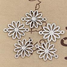 12pcs 매력 꽃 커넥터 25x19mm 골동품 만드는 펜던트에 맞게, 빈티지 티벳 청동 실버 색상, DIY 수제 보석