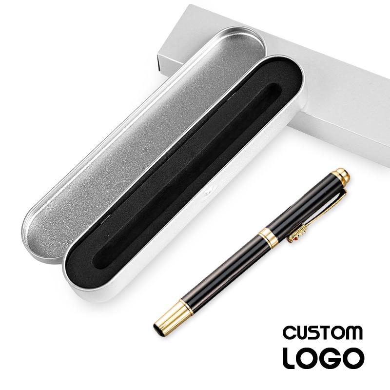 1pcs Luxury Metal Signature Gel Pen Business Gift Pen Writing Office School Supplies Ballpoint Pen Customizable Logo Pen Case