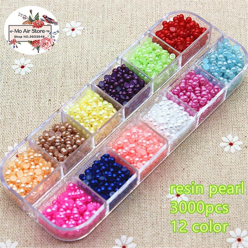 3000pcs/lot 3mm round mix color pearl Flatback half round Beads Jewelry Crafts Decoration ScrapBooking
