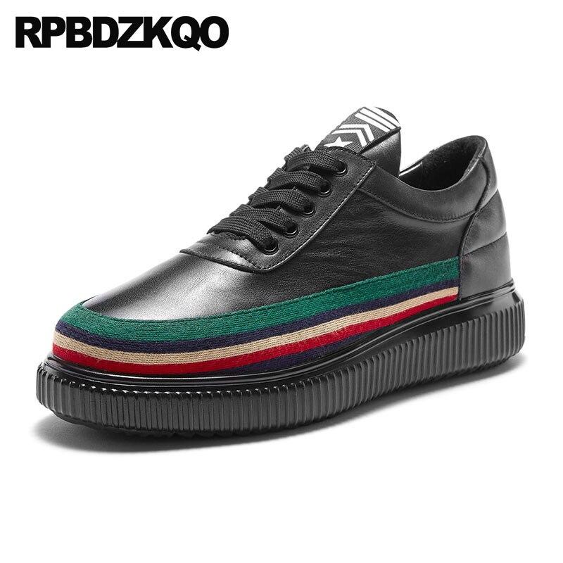 Zapatillas deportivas de alta calidad con cordones zapatos de skate creepers negro cuero real de lujo vaca 2018 nuevos zapatos planos de diseñador para hombres