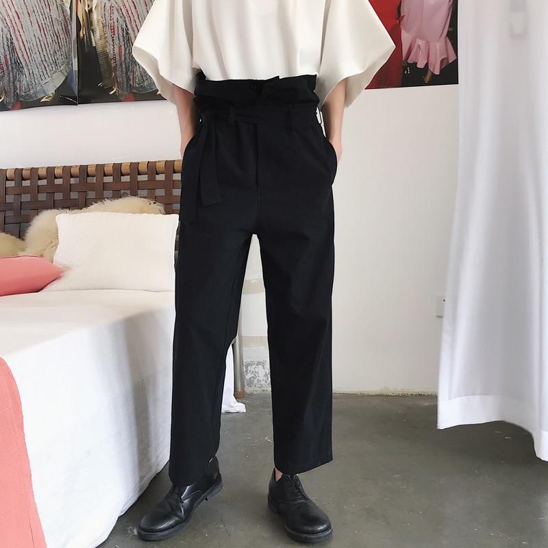 Pantalones Harem rectos Harajuku japonés para hombre y mujer, pantalones informales sueltos de talle alto a la moda Vintage para hombre