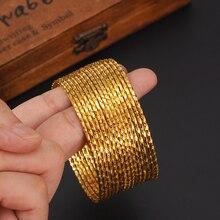 15 pièces Or Dubai bracelets 24 k Couleur Or Éthiopien bracelet Femmes Africaines Arabe Bijoux Cercle charme filles bracelet cadeau