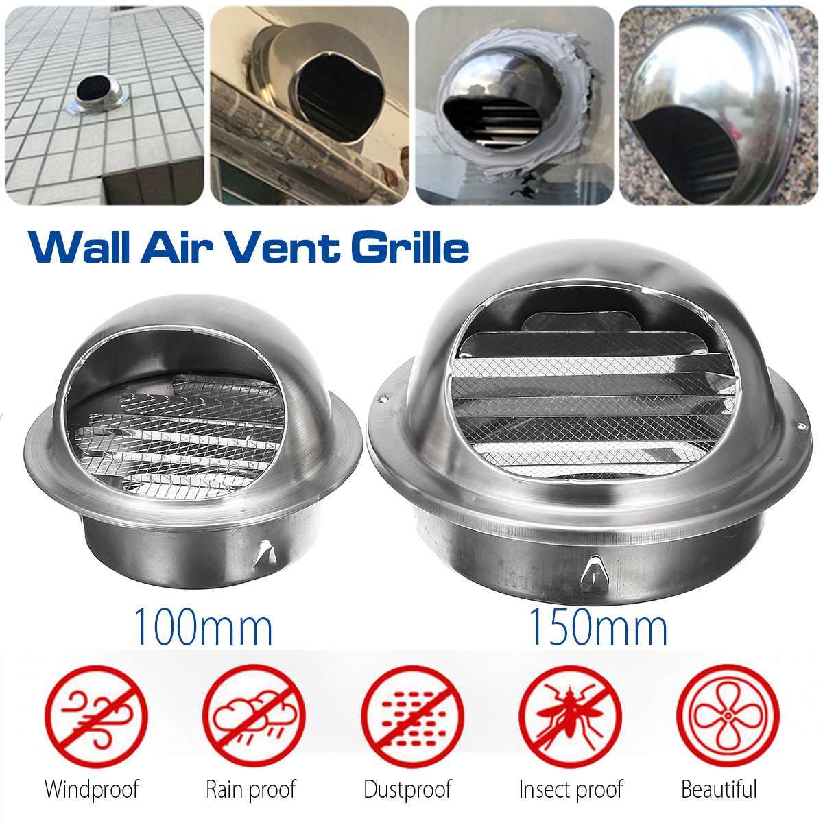 100/150mm Edelstahl Wand Decke Air Vent Führung Belüftung Grille Abdeckung Outlet Heizung Kühlung & Vents kappe