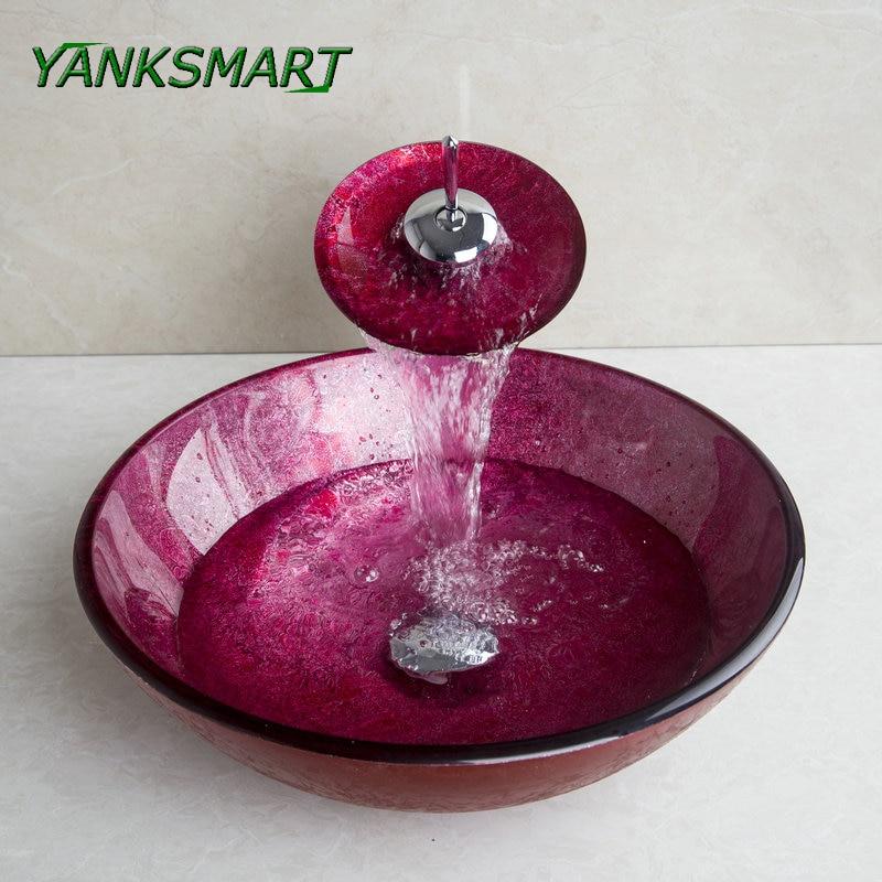 YANKSMART, lavabo de cristal único, lavabo de baño, fregadero, juego de grifería, encimera, lavabo, tocador, grifo mezclador frío y caliente