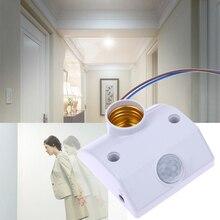 E27 capteur de mouvement à infrarouge   Support automatique de lumière pour lextérieur, capteur de mouvement de lumière Intelligent, interrupteur de lumière temporisé, blanc