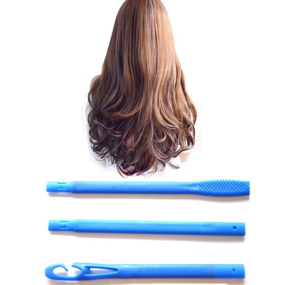18 Uds. Rizador de pelo de 55cm en espiral DIY Magic Plastic, tamaño de los rodillos de pelo, herramientas de estilismo con 3 ganchos de 2,5 cm de diámetro