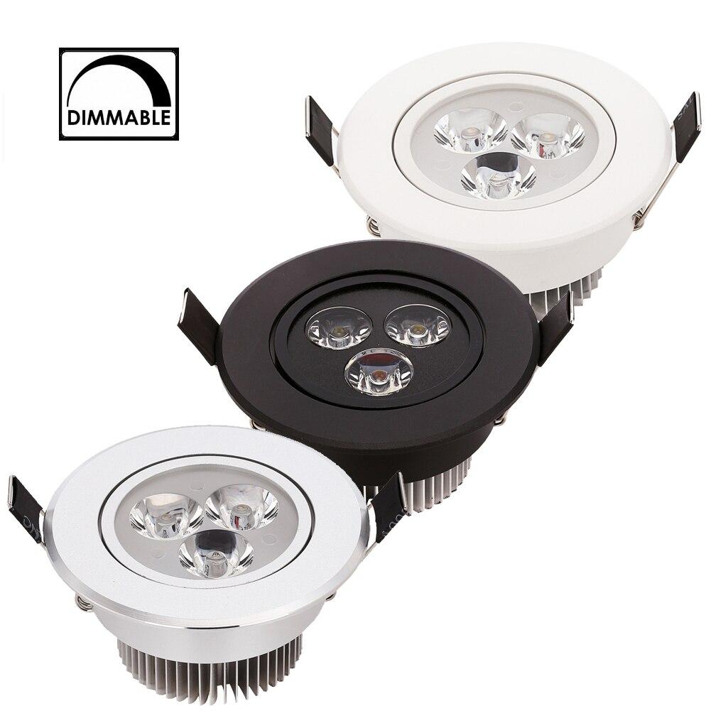 Luz descendente LED regulable 3W 4W 5W Spot LED AC110V 220V arena plata blanco negro cuerpo casa Natural luz diurna cálida blanca pura