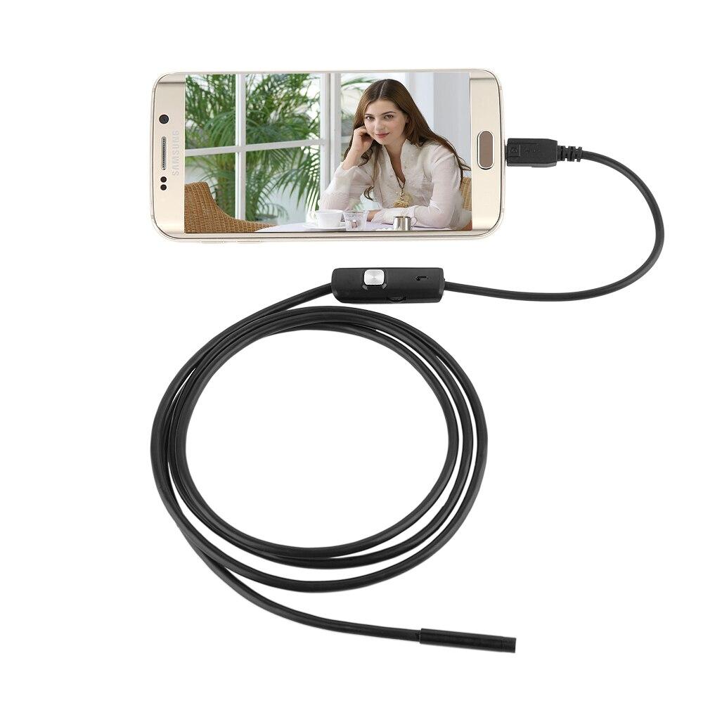 USB эндоскоп Volemer 6 светодиодов 5,5 мм объектив 1 м/1,5 м/2 м/3,5/5 м кабель Водонепроницаемый мини USB автомобильный эндоскоп для Android телефонов ПК