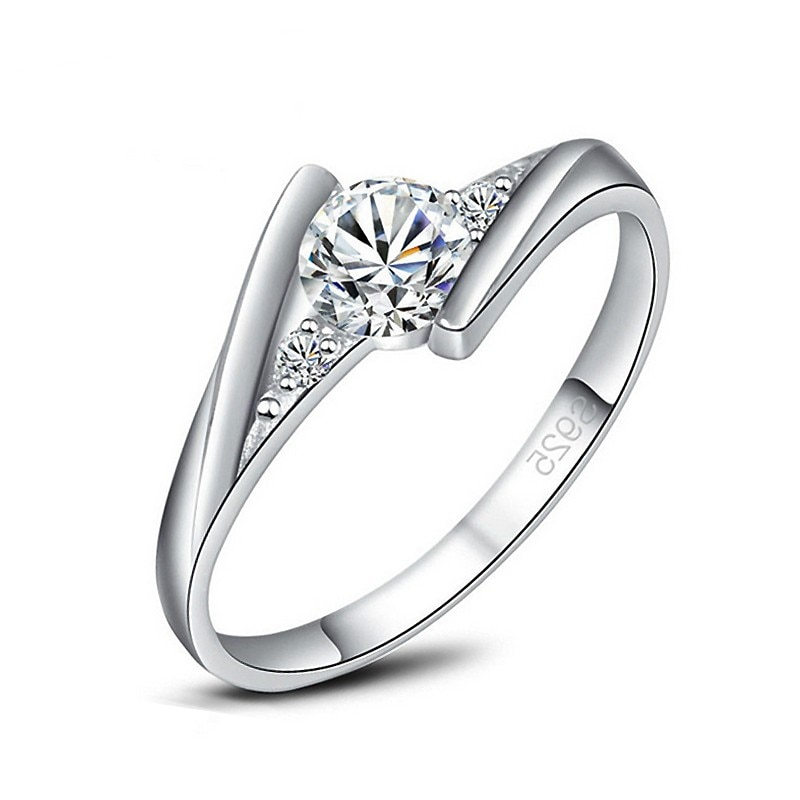 Moda Micro Circonia cúbica con anillos de dedo de cristal blanco 925 sterling-silver-joyería para mujeres chicas fiesta