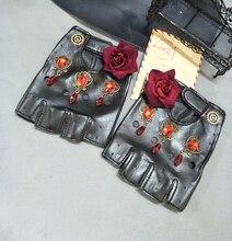 Gothic Women Gloves Rock Steam steampunk Rose Crystal PU leather Gear Glove Cosplay Accessories