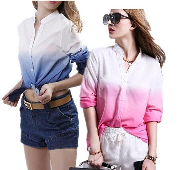 Camisa de gasa nueva soporte manga larga cuello Top de trabajo damas blusa caliente gradiente moda Blusa de gasa impresión