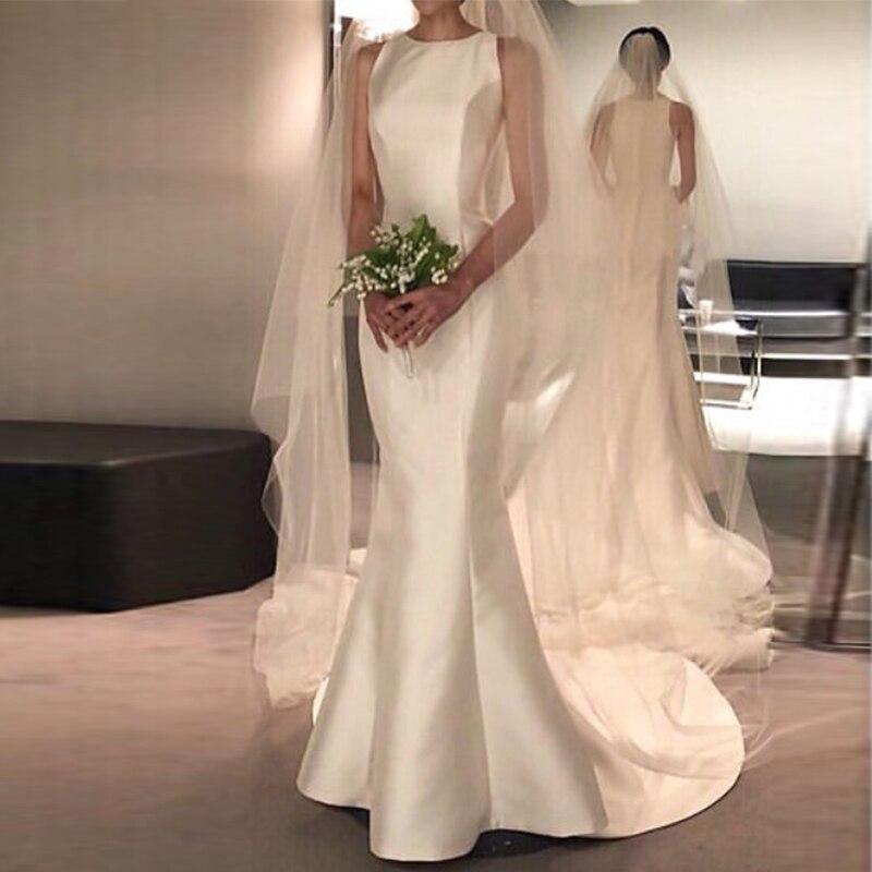 Nova chegada Vestidos de Noiva de Cetim O-pescoço Trem Da Varredura Do Casamento Vestidos de Noiva vestido de noiva sereia sheer vestidos convidado do casamento de praia