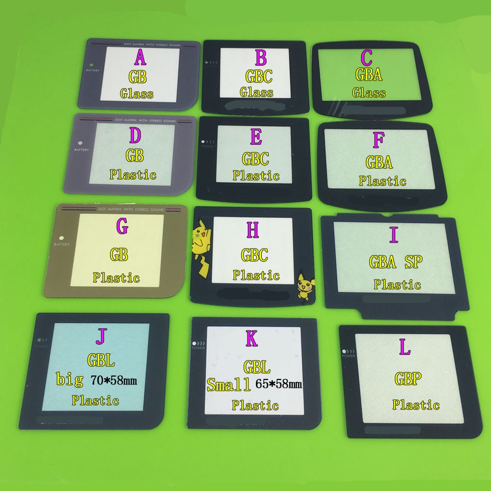 YuXi פלסטיק & זכוכית חומר מסך עדשת החלפה עבור Gameboy עבור GBA/GBC/GBA SP/GB/ GBP/GBL משחק קונסולה