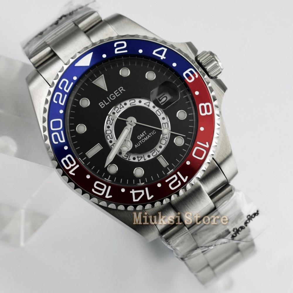 43mm black dial Cerâmica Moldura Luminosa GMT Automatic Data Assista men Data & day Classique Blanc Relogio feminino femmes Dames