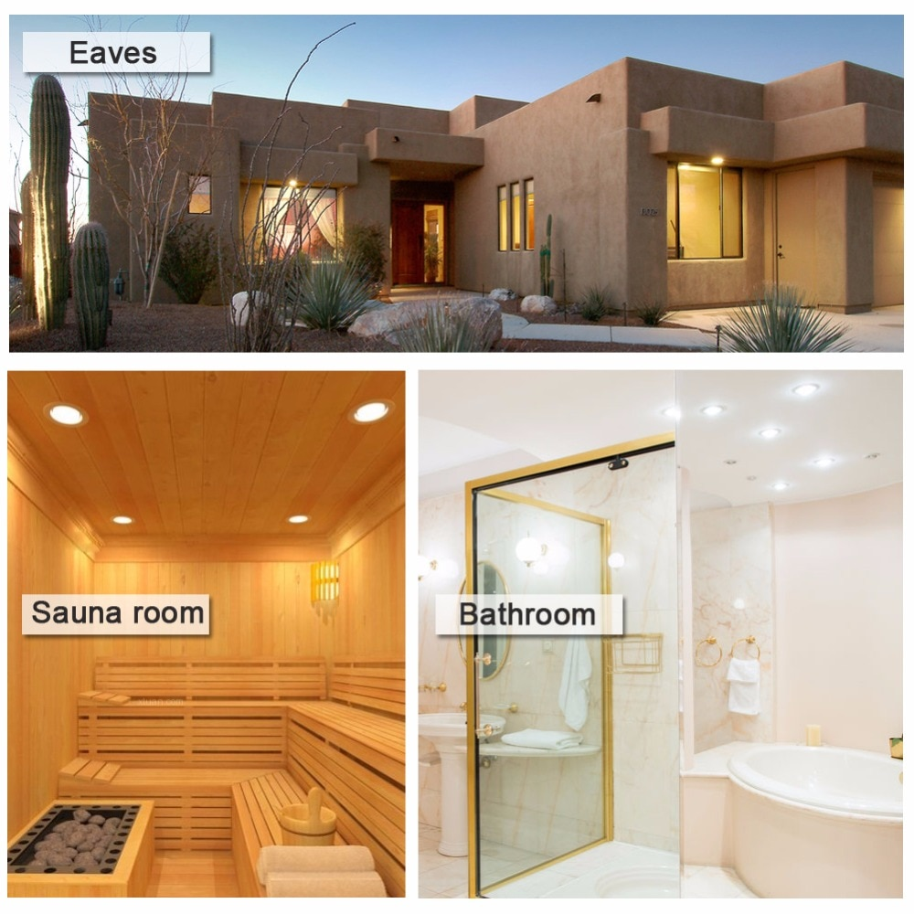 Купить с кэшбэком Spot led IP65 it Waterproof Fire-proof Down light Lamp 5W 7W 9W Led Ceiling lighting for sauna steam bath kitchen bathroom eaves