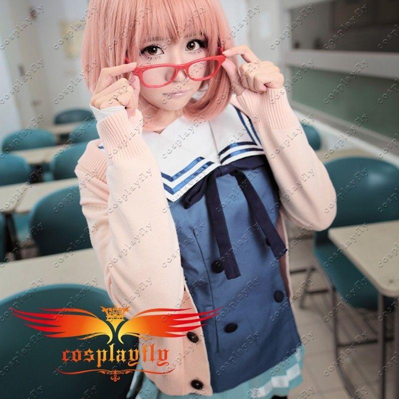 Além do limite mirai kuriyama ayi ai shindo cosplay traje personalizado adulto roupa feminina vestido menina azul fatos de marinheiro