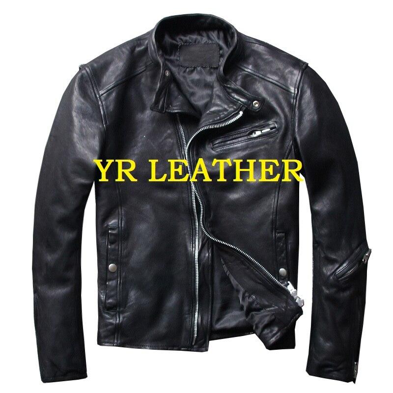 YR!Free shipping.Wholesales.2019 Brand new motor biker style sheepskin jacket man.fashion genuine leather coat.slim jacket