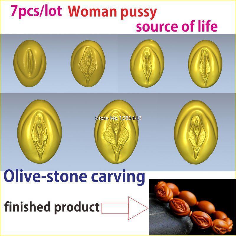 7 pièces/lot modèle 3d en relief pour imprimantes cnc ou 3D dans STL file Fruit pit sculpture de femme chatte et la source de la vie