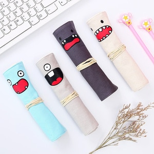 Creative Personality Kawaii Roll Pencil Case Canvas Curtain Dual-use Multi-function Stationery Bag