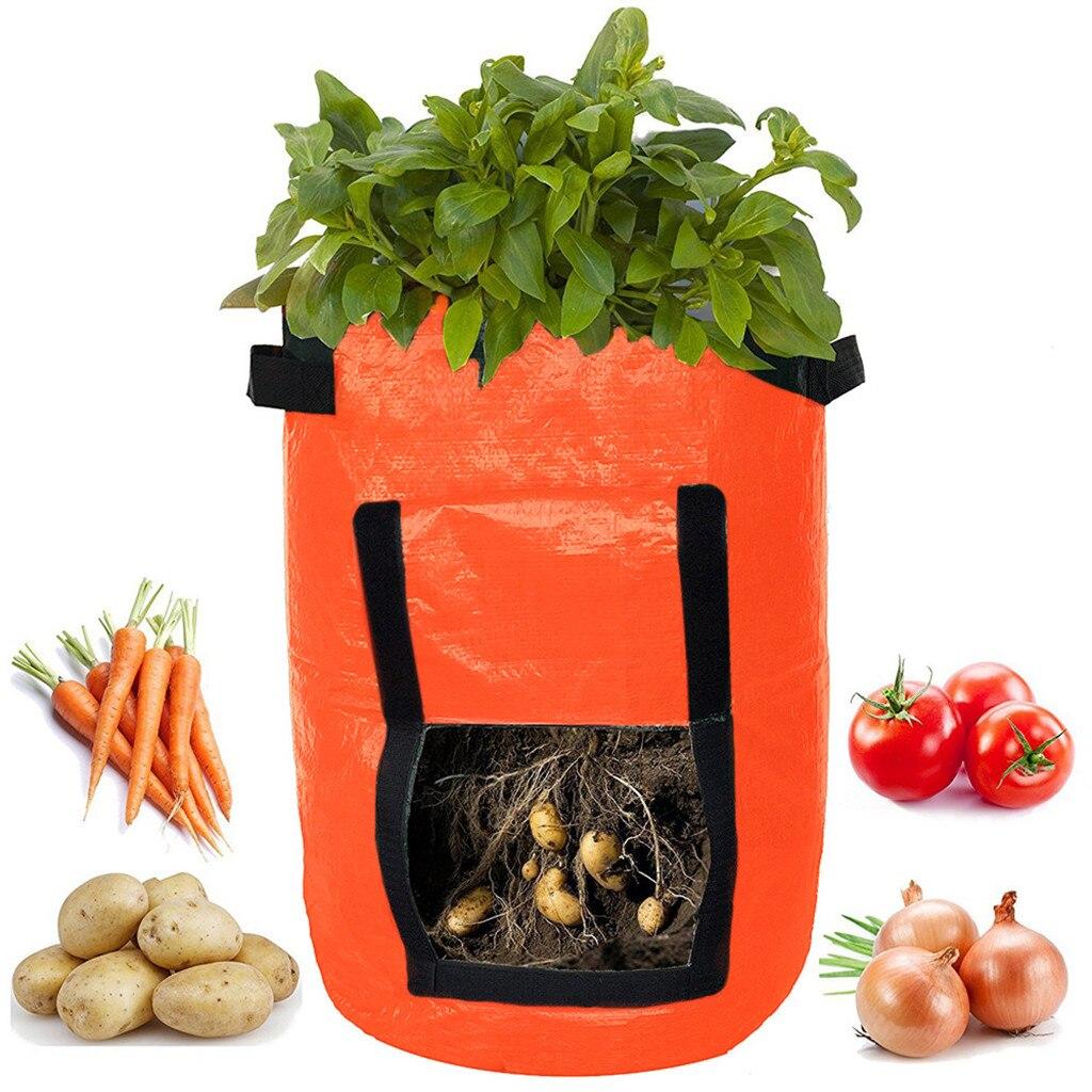 Nueva planta vegetal bolsa de crecer recipiente para plantar patatas DIY trapo PE tomate bolsa de siembra espesar Maceta de jardín # TX4