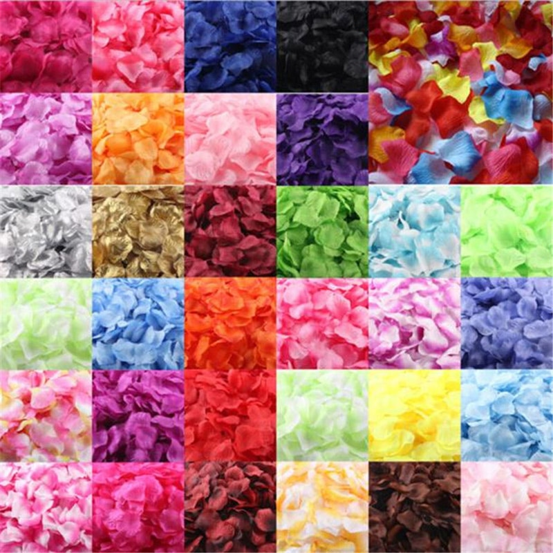 500Pcs Multicolor Fake Rose Petals Girl Toss Silk Petal Artificial Flower For Wedding Party Home Decoration Accessories