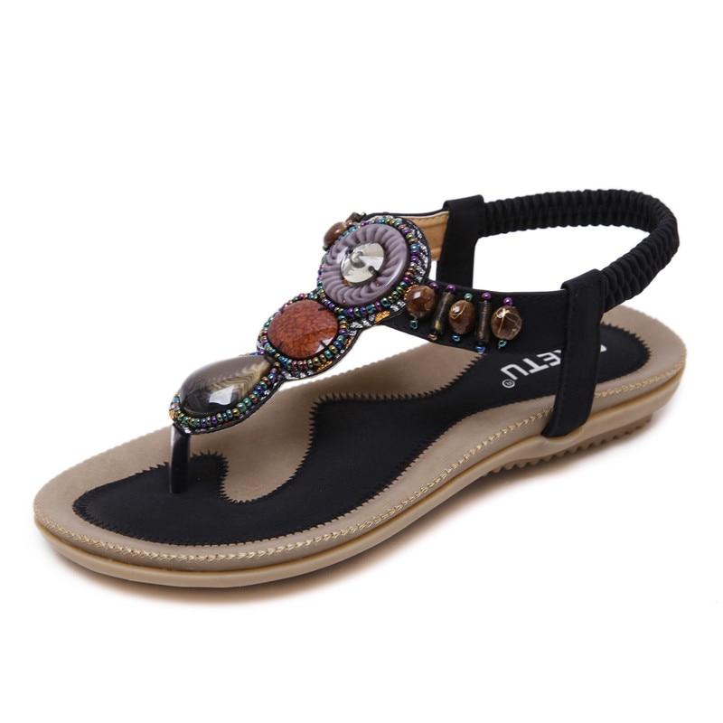 SIKETU/Размер 4-14, большой размер, черные сандалии с бисером женская обувь летние женские туфли на плоской подошве цвета хаки в римском стиле ...