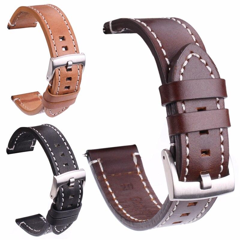 Ремешок для часов HENGRC, из натуральной кожи, 18 мм 20 мм 22 мм, ручной, толстый, коричневый, черный, ремешки для часов с пряжкой, аксессуары для часов