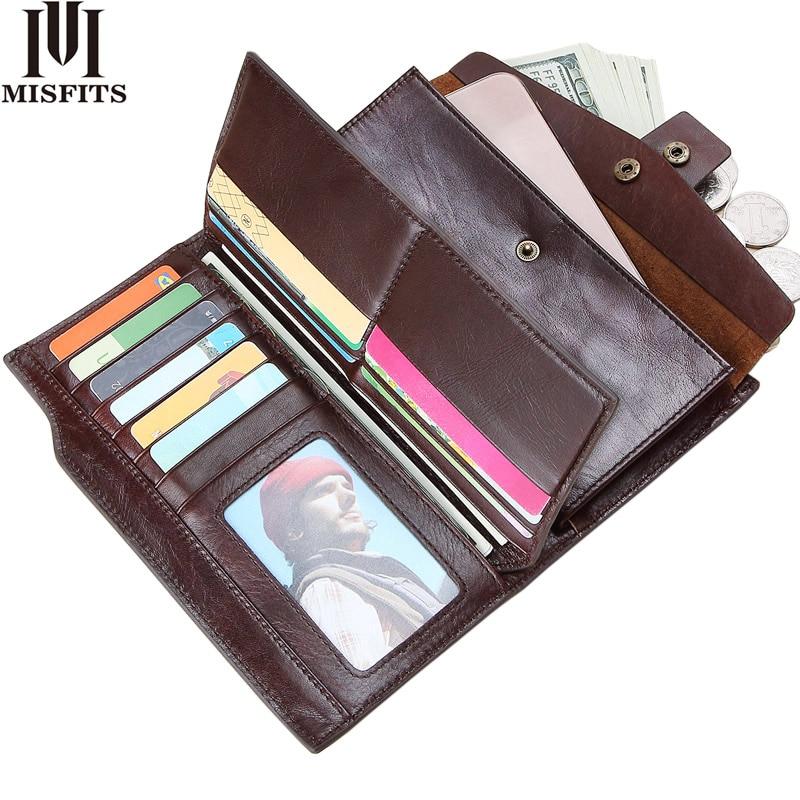 new genuine leather men wallet clutch business cell phone bag organizer card golder long zipper coin