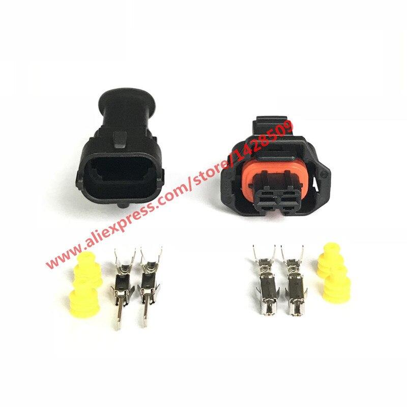 Conector de cable eléctrico resistente al agua, enchufe del Sensor de Auto, 5 unidades, 2 pines, 1 928, 403, 874, macho, hembra, 3,5mm