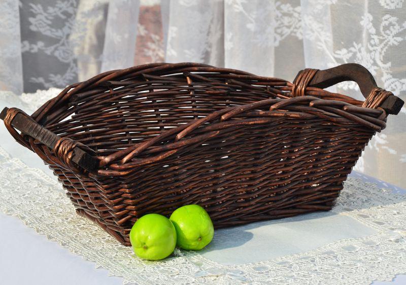 Cesta de mimbre KINGART, cesta de mimbre hecha a mano para almacenamiento de alimentos, caja de pan, recipientes para el pan, cesta de paja tejida con Color de madera