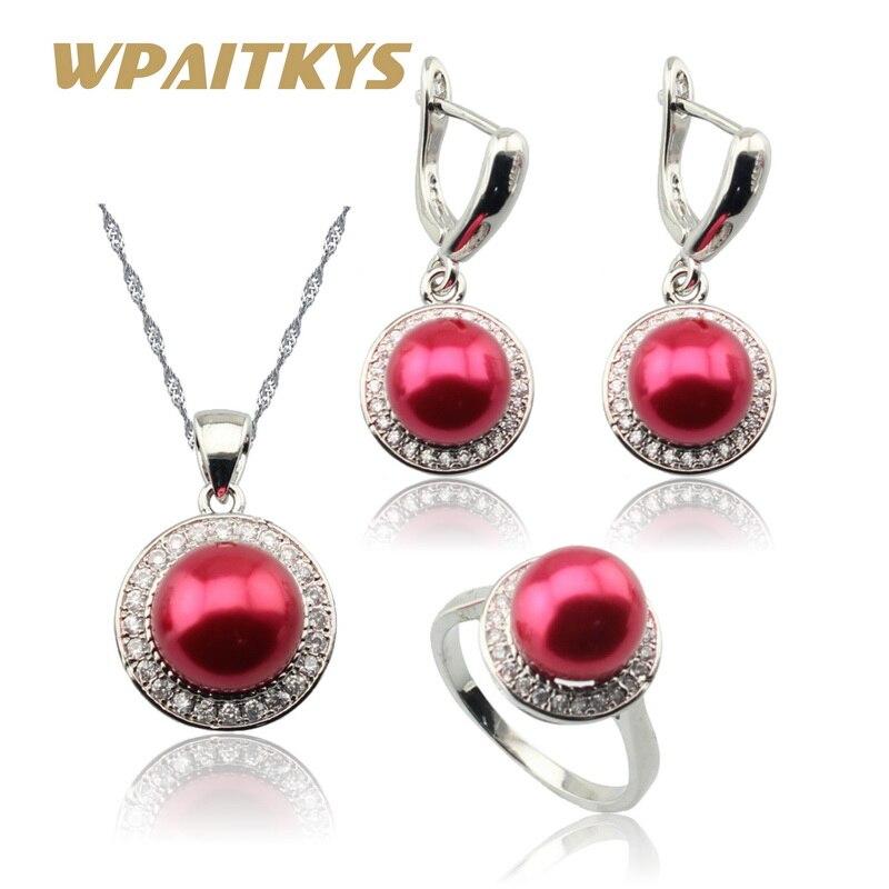 Czerwony symulowana biała perła CZ kolor srebrny zestawy biżuterii dla kobiet naszyjnik kropla wisiorek kolczyki pierścionki darmowe pudełko