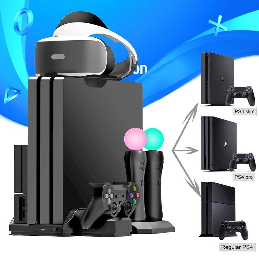 PS4 Pro mince/PS VR déplacer multifonctionnel support de refroidissement et contrôleur Station de chargement pour Playstation 4 et PS déplacer