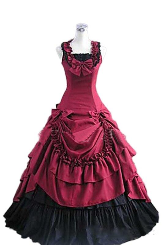Partiss das Mulheres Sem Mangas Bowknot Vestido de Baile Vestido Gótico Halloween Gothic Bow Two-piece Set roupas femininas