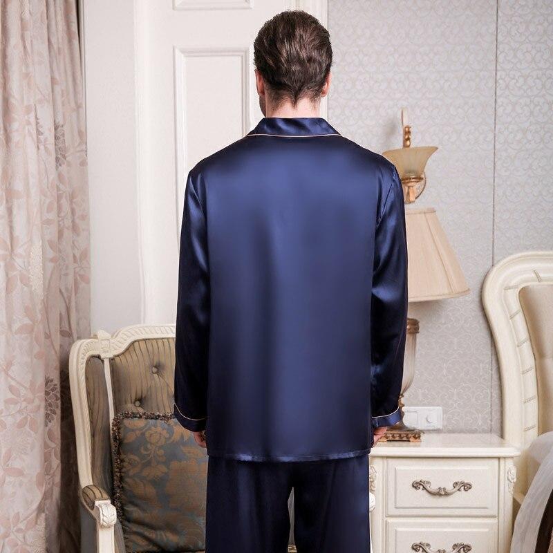 Новинка шелк мужские пижамы высокое качество 100% 25 натуральный шелк пижама брюки комплекты +с длинными рукавами 2 предмета одежда для сна мужские пижамы T9002