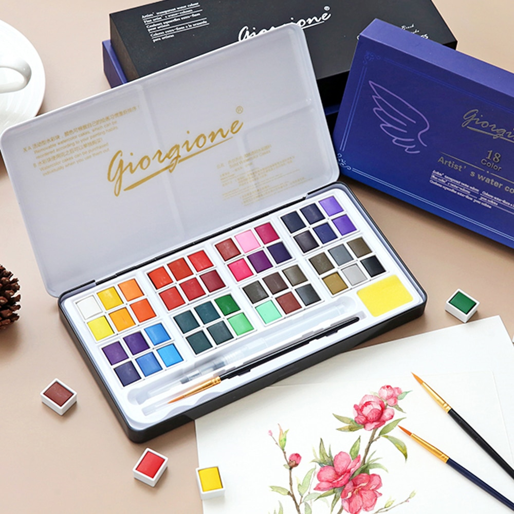 paul rubens 12 24 48 watercolor paint set with metal case solid artist water color painting pigment for drawing art supplies 48 Colors Solid Watercolor Paint Set Metal Box Water Color Painting Pigment Pocket Size With Metal Ring For Artists Art Supplies
