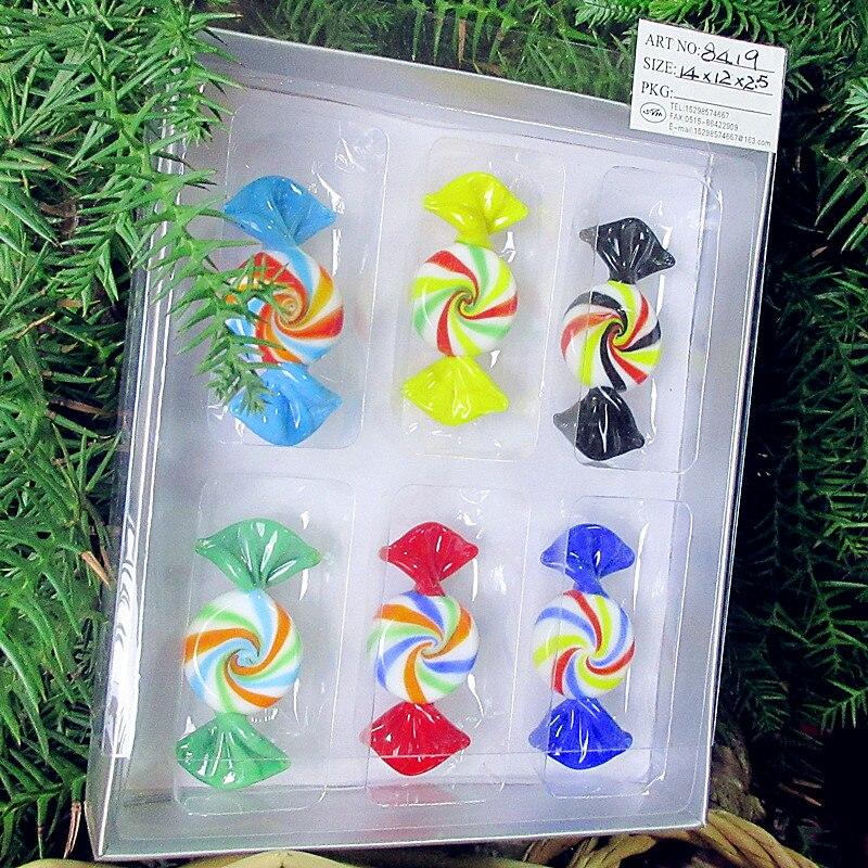 Lote de 6 uds de dulces de cristal de Murano soplado a mano antiguo personalizado escultura decoración de árbol de Navidad colgante caramelo niños regalo de Año Nuevo