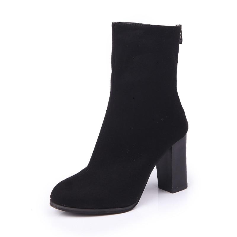 2019 Women Boots Strange Style Thick High Heels Autumn Winter Female Short Fashion Stretch Lycra Sock Shoes Woman Zipper