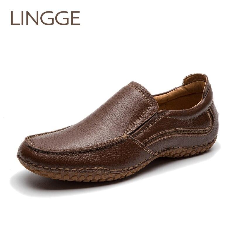 LINGGE marca zapatos de hombre de goma antideslizante zapatos casuales de cuero genuino zapatos de hombre hechos a mano Vintage Slip-On mocasines zapatos