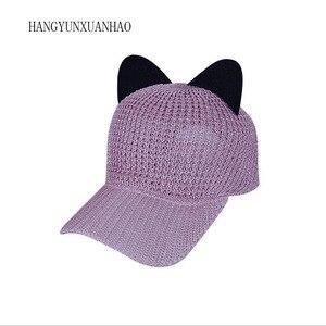 Summer Cute Cat Ear Breathable Sunscreen Mesh Baseball Caps Womens Adjustable Snapback Gorras Planas Hip Hop Bone Casquette Hats