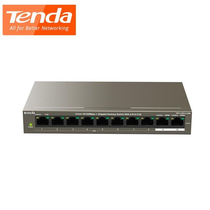 Tenda TEF1110P-8-102W interruptor de red Enternet 8-Port10/100Mbps POE + 2 Gigabit interruptor de escritorio 250 M, protección contra rayos 6KV