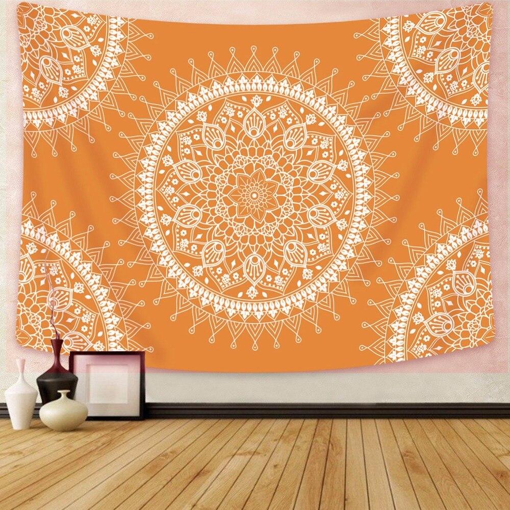 Enipate Mandala Hippie tapices bohemios flor para colgar en pared tapiz psicodélico naranja colgante de pared decoración de dormitorio indio