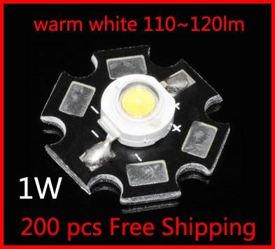 1 W   alta potencia Taiwán Epistar Chip LED Bombilla cuentas/blanco cálido/con disipador de calor de aluminio /200 piezas