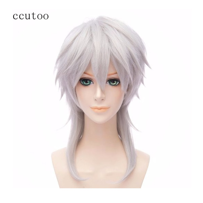 Ccutoo 45 cm Silber Grau Mittellang Lang Synthetische Cosplay Perücken Party Halloween Voll Perücken Touken Ranbu Online Tsurumaru Kuninaga